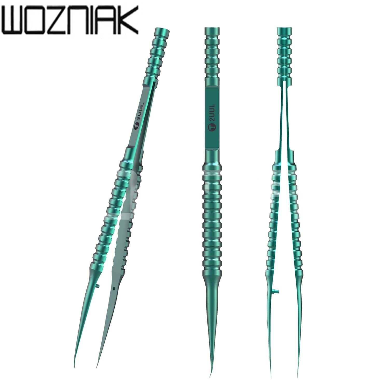 2UUL Titanium Alloy Tweezer Blue Curned Straight Tip Tweezer  For Mobile Phone Motherboard Repair Precise Wire Jump