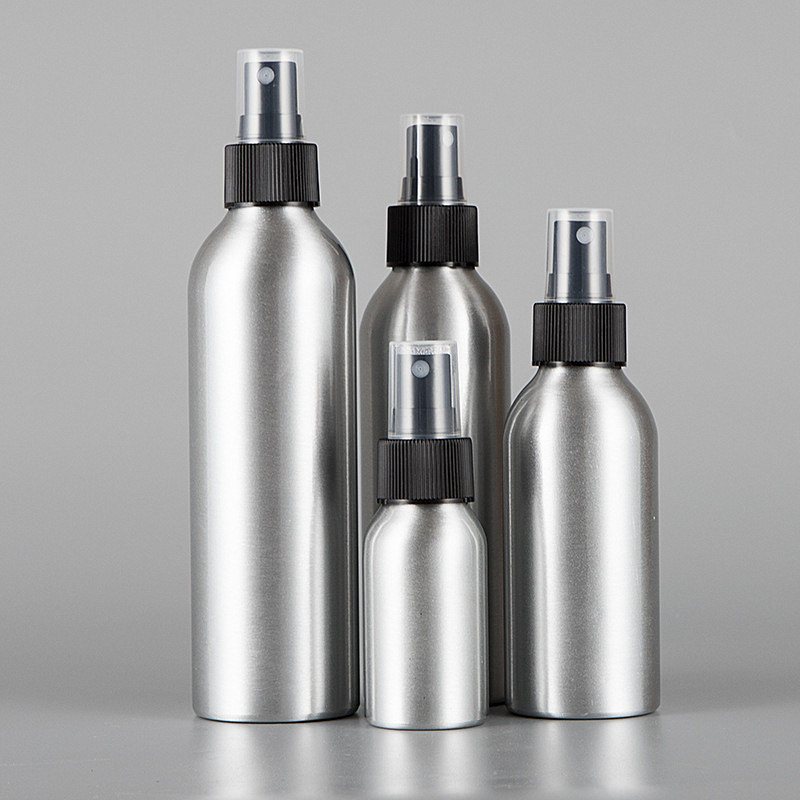 3pcs/lot 40/50/100/120/150/250ml Empty Aluminum <font><b>Bottle</b></font> With Ribbed Sprinkler <font><b>Spray</b></font> <font><b>Bottle</b></font> Nozzle Cosmetic Container Perfume Vial image