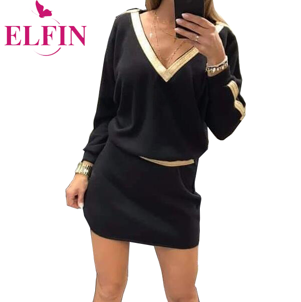 Office Women Elegant Party Dress Long Sleeve V Neck Mini Straight Black Casual Dresses Autumn Korean Clothing 2019 SJ4679R