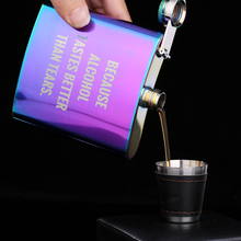 Fashion Hip Flask 6oz Magic Color Stainless Steel Flasks Outdoor Whisky Vodka Drinkware Creative English bottle Girls Gift