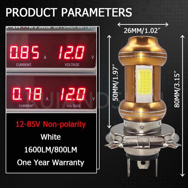 Фото 2 шт автомобильные светодиодные лампы cob h4 12 85 в 1600 лм цена