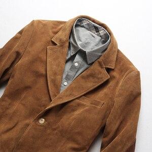 Image 5 - 2019 ใหม่ผู้ชาย Blazers Suede cowhide เสื้อแฟชั่น Cowskin Blazer แจ็คเก็ตจัดส่งฟรี