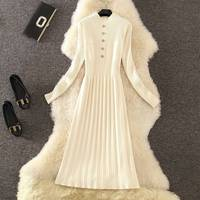 ICHOIX elegant sweater dress winter dress long sleeve casual white women dress Slim A line knitted long dresses vestidos 2019