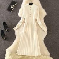 ICHOIX elegant sweater dress winter dress long sleeve casual white women dress Slim A line knitted long dresses vestidos 2019