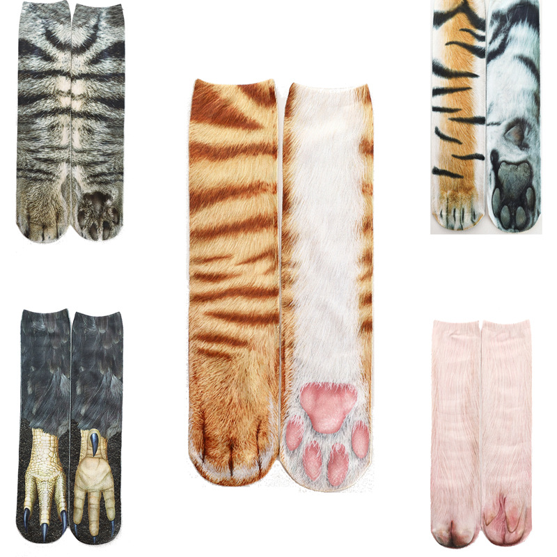 Fashion Animal Paw 3D Printing Autumn Happy Socks With Cat Dog Tiger Feet Mens Cool Socks Meias Unisex Adult 3 Kinds Size 402