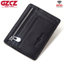GZCZ 100% Genuine Leather Credit Card Holder Travel Men Male Case Wallet Thin Business Zipper Slim Coin Purse for Boys(China)