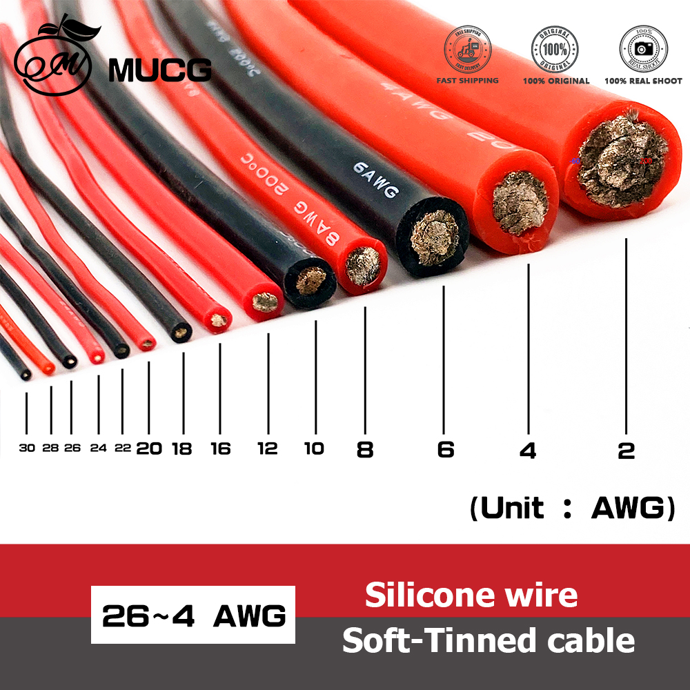 Silicone cable red black wire Car Battery jump Automotive wrapping wiring wires cables 10awg 8awg 6awg 4awg awge 18 16 14 12 awg