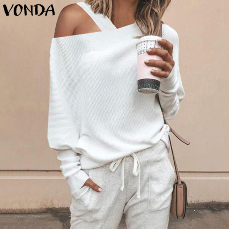 VONDA Women Sweater Knitwear Tops 2019 Autumn Long Sleeve Blouse Sexy Off Shoulder Knitted Pullover Thin Sweater Plus Size S-5XL