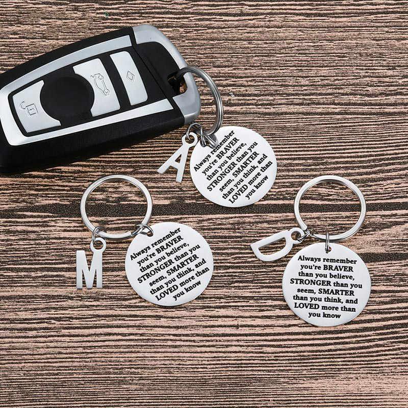 الموضة سيارة المفاتيح التدرج حلقات المفاتيح الحلي هدية للرجال النساء دائما تذكر كنت شجاعا مما كنت تعتقد