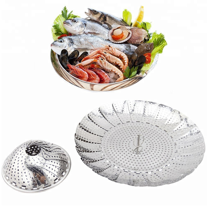 9 Inch Stainless Steel Ring Folding Cage Telescopic Steamer Drain Fruit Tray Water Filter Basket Steamer Kitchen Ware