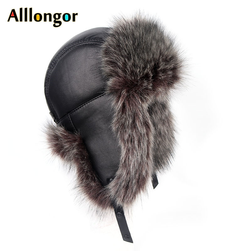 High Quality 2019 Winter Ushanka Leather Faux Fox Fur Russian Hat Women Men Soviet Bomber Hats Snow Cap Gorro Ruso Hombre