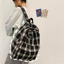 Estudantes mochila feminina padrão xadrez saco de escola lona softback campus estilo mochila viagem bagpack feminino mochilas senhoras
