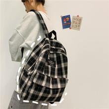 Students Backpack Women Plaid Pattern School Bag Canvas Softback Campus Style Rucksack Travel Bagpack Female Backpacks Ladies