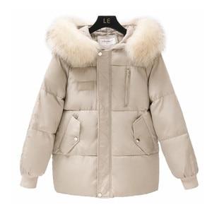 Image 4 - Abrigo de piel grande con cuello para mujer, chaquetas de otoño e invierno para mujer, Parkas de plumas cálidas, chaqueta acolchada de algodón, abrigo con capucha para mujer