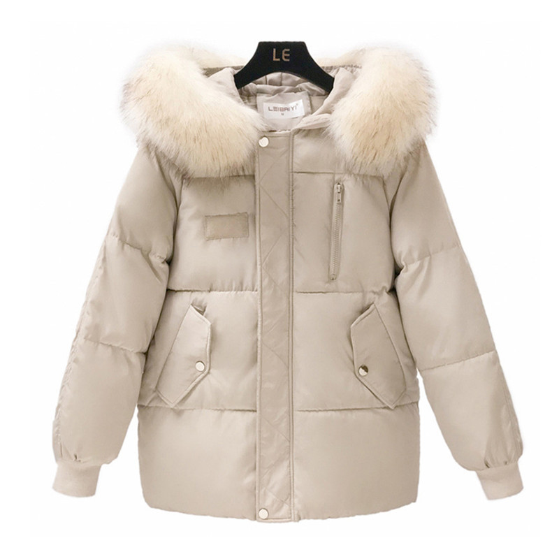 Image 4 - Fashion Big Fur Collar Autumn Coat Womens Winter Jackets New Warm Female Down Parkas Cotton Padded Jacket Women Hooded Coat-in Parkas from Women's Clothing