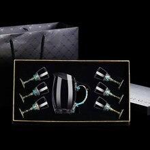 Vetro Tetera Vintage Personalizzato Hip Flask Set Mens di Lusso Set Fiaschetta In Acciaio Inox Da Tasca Set Wine Bar EC50JH