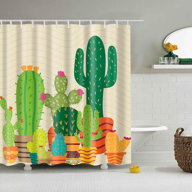 Тропический кактус, занавеска для душа, полиэфирная ткань, занавеска для ванной комнаты, украшения для ванной комнаты, мульти-размер, занавеска для душа с принтом s - Цвет: 23