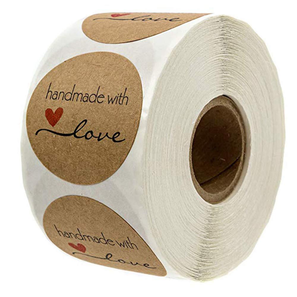 Pegatinas Kraft Etiqueta AdhesivaHandmade with love 3.8cm Redondas Etiqueta Autoadhesiva Hechas a Mano Etiquetas Rollo Decoraci/ón para Bolsas de Hornear Regalos Caseros 1 Rollo 500 Piezas