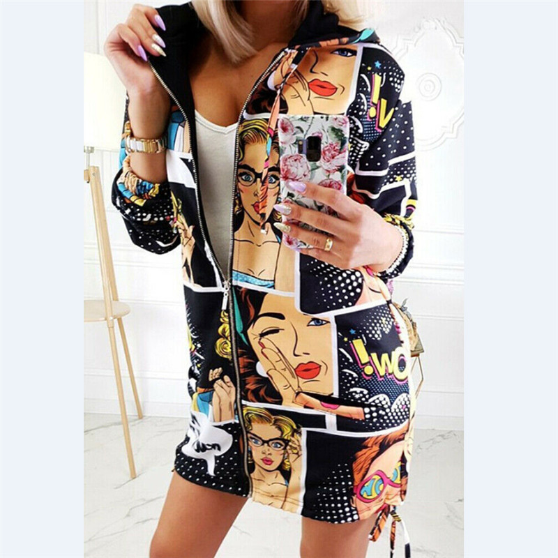 Fashion Women Floral Zipper Bomber Jacket Baseball Casual Coat Outwear Hoodie
