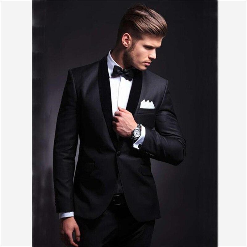Mens Suits (Jacket+Pants) Classic Style Wedding Suit Slim Fit Groom Tuxedos Black Groomsman Suit Best Man Bridegroom 2 Pieces