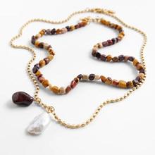 Bohemia pacote de natural barroco pérola e pedra colares colorido irregular polido pedra pedra pedra layerd colares jóias diárias