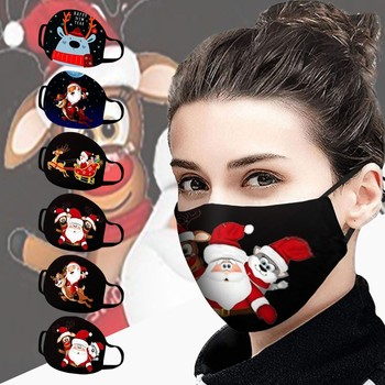 Christmas Mask Unisex Face Masks Christmas Santa Elk Print Windproof Washable Mascarillas Breathable mask for face fashion cartoon elk print christmas tee