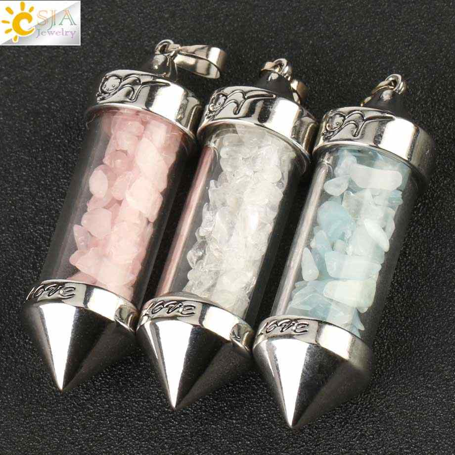 CSJA 希望するボトルペンダント天然石砂利弾丸形のペンダントロマンチックな愛の記念日のギフト G184