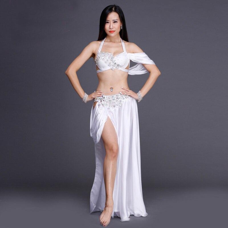 2018 Women Professional Belly Dance Costume Set Luxury Bellydance Costumes Stage Performance Diamond Decoration Bras & Skirt Set