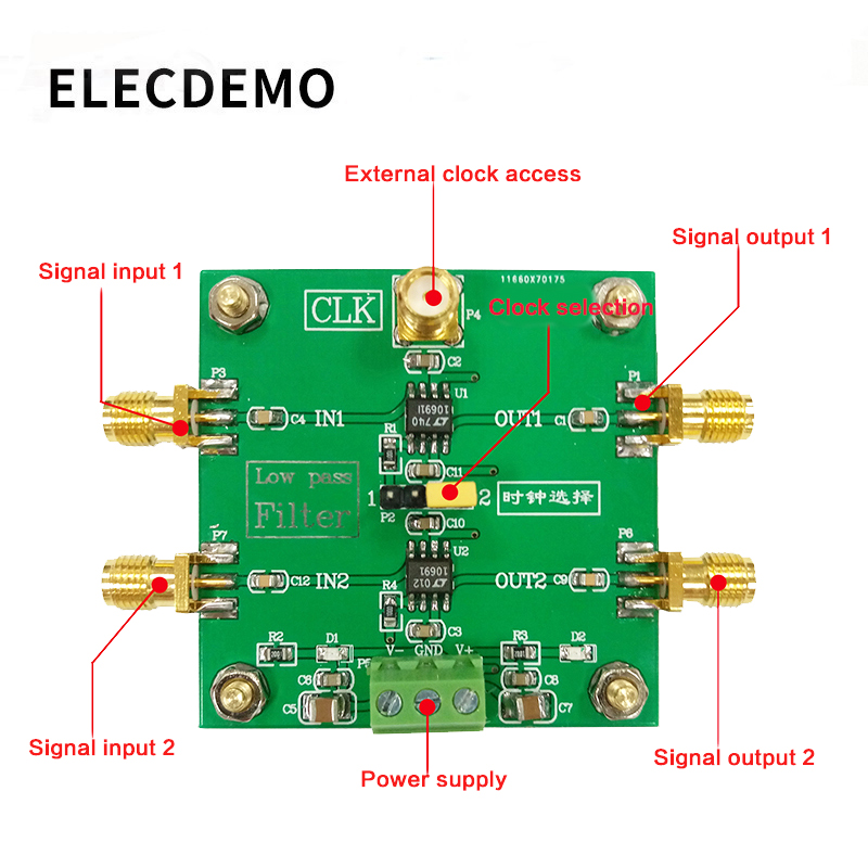 Купить с кэшбэком LTC1069 Module 8th order low pass filter Progressive Ellipse filter 2-Way Output  External clock Control Module demo board