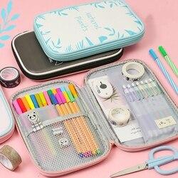 Kawaii szkoła piórnik dla dziewcząt chłopców ładny ołówek torba Pu skóra duży duży karny piórnik wielu krotnie pokrowiec na długopis Box piśmienne