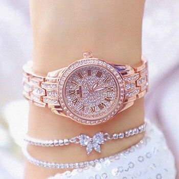 Women's Fashion Roman numerals Watch Ladies Luxury Crystal Diamond Wrist Watches Top Brand Rose Gold Watch Women Bracelet Clock
