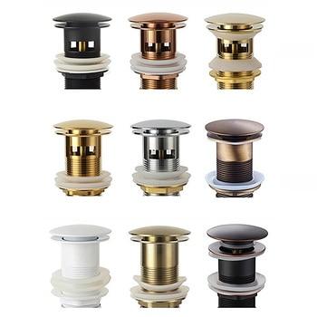 Bathroom Basin Sink Pop Up Drain Bathroom Faucet Accessories Brass Matt black/Chrome/Rose Gold/Brushed Gold недорого