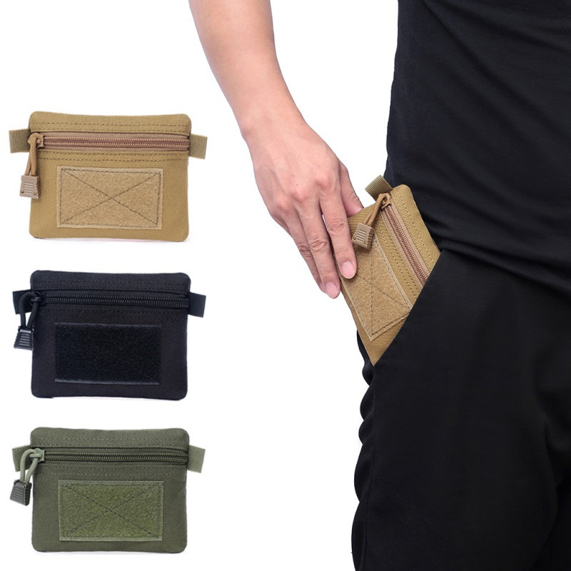 Outdoor Multi function Square Coins Wallet Purses Waterproof Sports Zipper Card Key Holder Change Pocket Sack