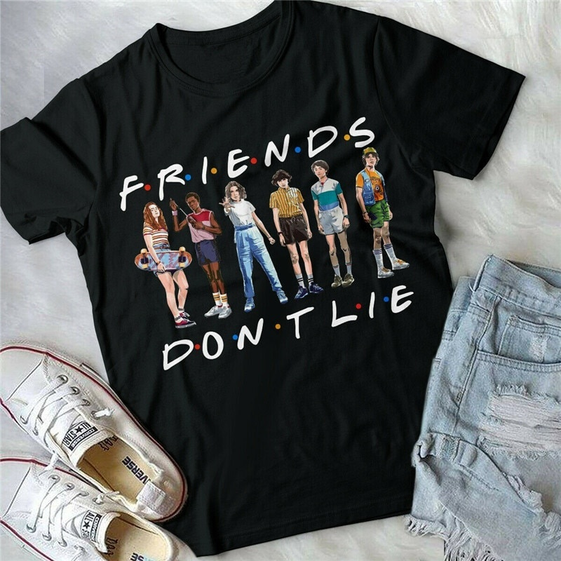 Sunfiz YF Freind Dont Lie Six People Stand Printed T Shirt Stranger Things Letter Print T Shirt Friends Dont Lie Printing Tees