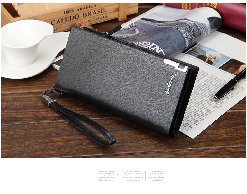 H796bb85fe1bb420290c935c124221each - Baellerry Men Wallets Classic Long Style Card Holder Male Purse Quality Zipper Large Capacity Big Brand Luxury Wallet For Men