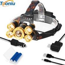 цена на Led Headlamp 5 Chips XM-L T6 LED Headlight 12000 Lumen Head Lamp Flashlight Lanterna 4 Switch Model Choose Battery Charger
