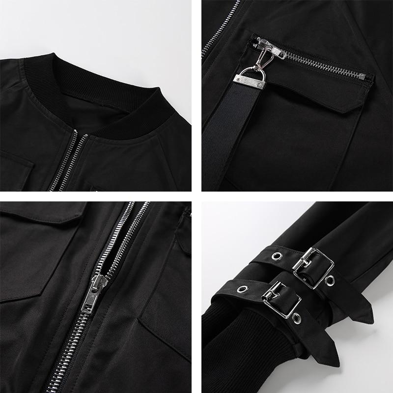 H796bcc572a6c457682412f200da18bedl Waatfaak Outerwear Crop Bomber Jacket Women Patch Long Sleeve Autumn Jacket Female Pocket Pin Buckle Zipper Streetwear Jacket