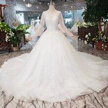BGW HT5619 Suknia Slubna ciężkie do robótek ręcznych suknie ślubne z długimi rękawami O neck gorset Suknia ślubna 2020 nowy