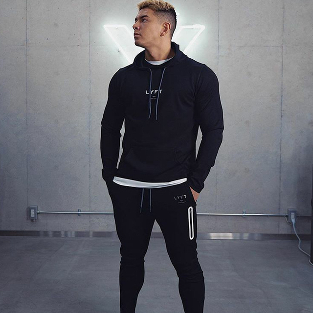 2021 New Men Cotton Hoodies Print Hoodies Sweatshirt Gym Fitness Hooded Pullover Man Casual Sportswear Brand Workout Clothing 1