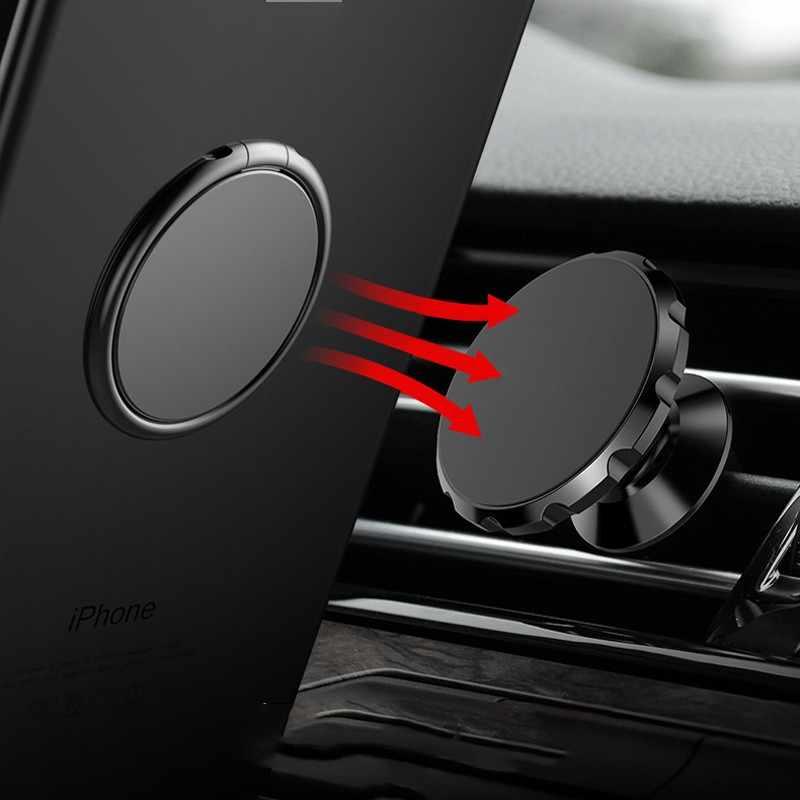 Luxury Logam Ponsel Soket Holder Universal 360 Derajat Rotasi Jari Cincin Pemegang Magnetik Mobil Bracket Stand Aksesoris