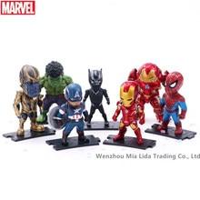 Hasbro Avengers 7pcs/set Spider-Man Iron Man Black Panther Captain America Hulk Hulkbuster Thanos Doll Model toys