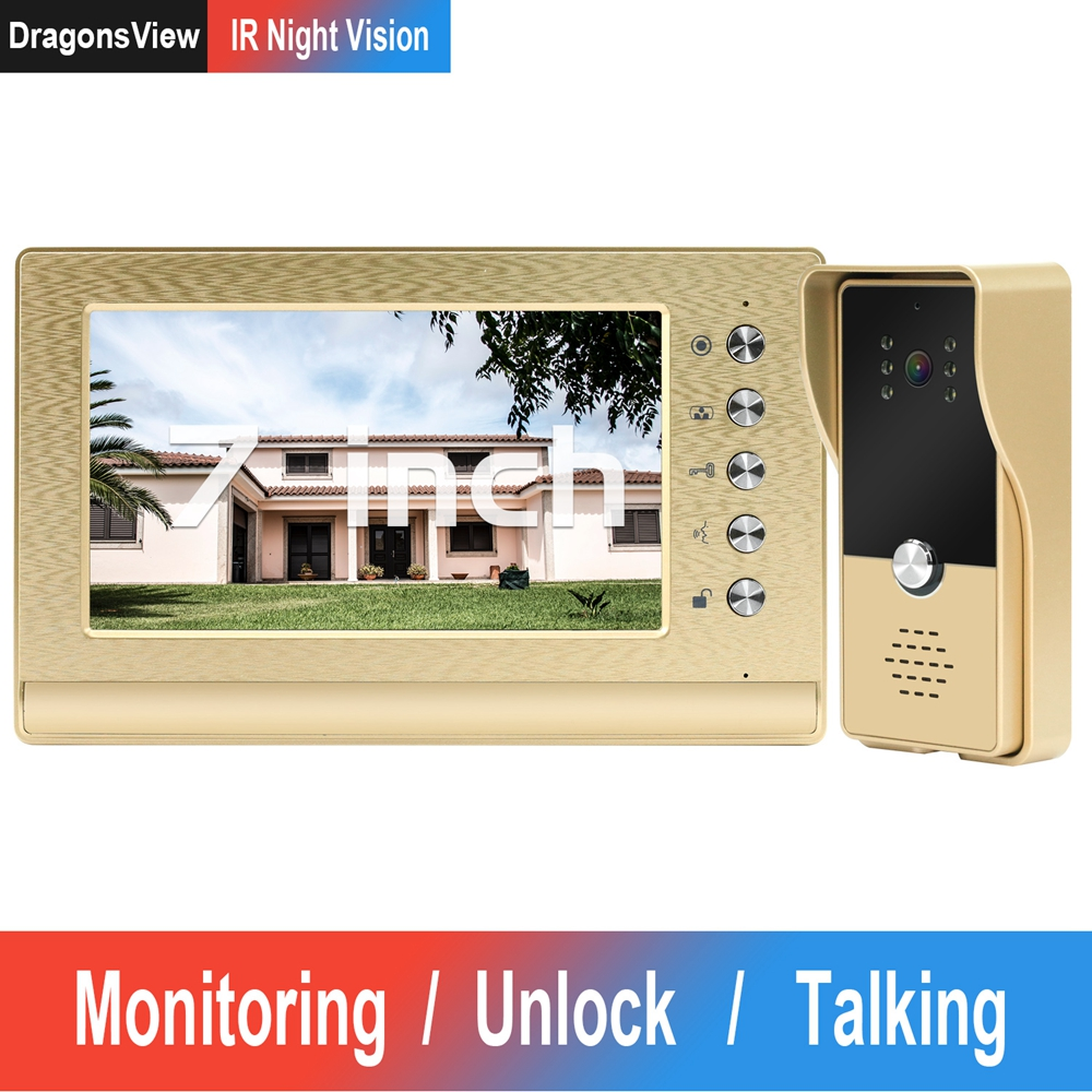 DragonsView Video Door Phone Wired  Video Intercom With Lock Home Access Control System Electric Lock IR Night Vision Call Panel
