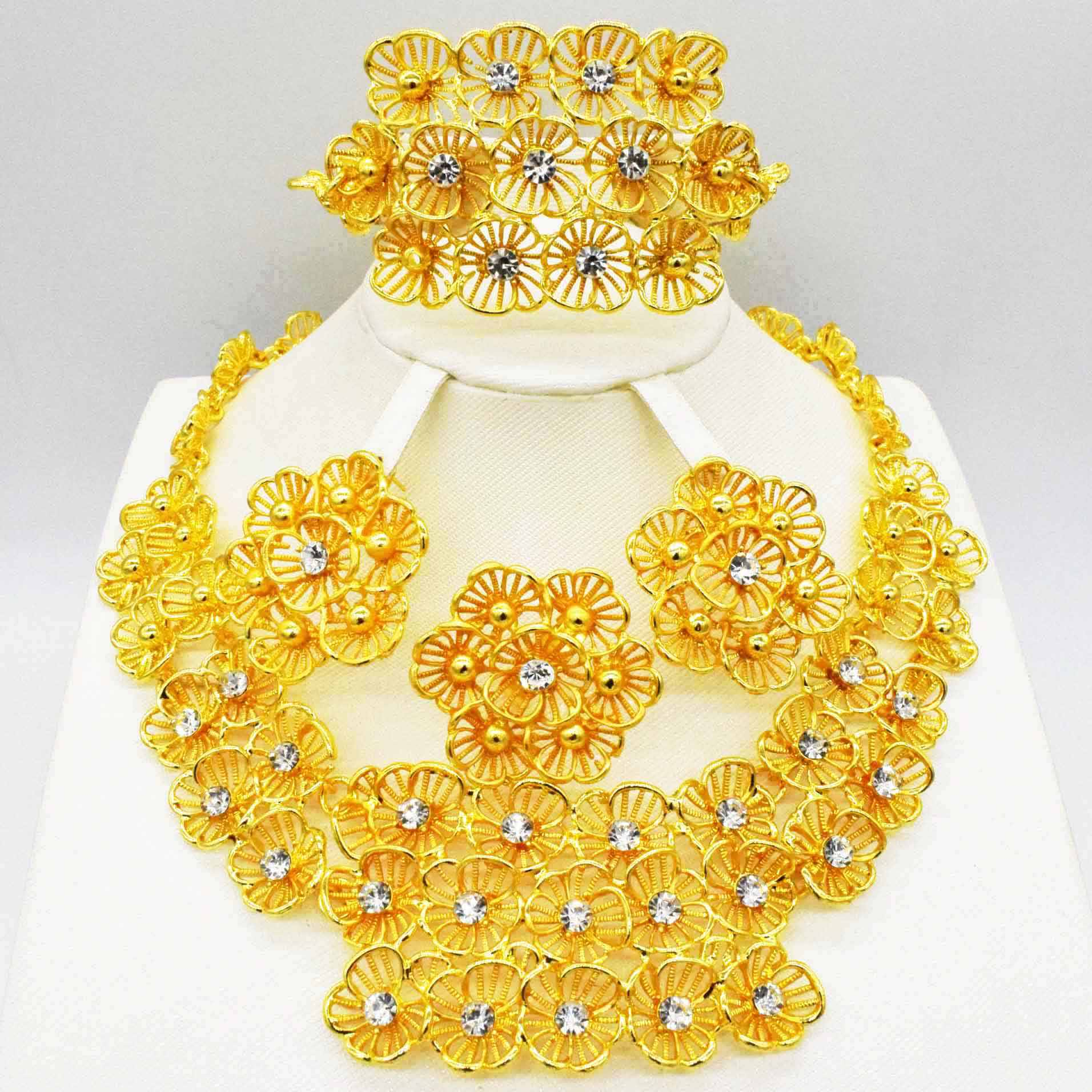 2019 New Wholesale Gorgeous African The beads Jewelry Sets Gold Color Necklace Set  Wedding  Fashion Dubai Jewelry for women