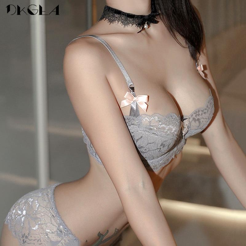 White Sexy Bra Panties Sets Plus Size 38 40 42 Thin Cotton Underwear Set Women Bras Lace Black Brassiere Embroidery Lingerie Set