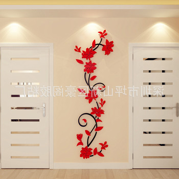 NEW 1PC Wall Stickers Decal Home Decor DIY Vase Flower Crystal Arcylic 3D Stickers For Kids Room 24X80cm Drop Shipping 12
