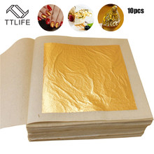 TTLIFE 10 Pcs 24K Gold Leaf Sheets for Art Crafts Design Gilding Framing Scrap Premium Golden Edible Gold Leaf Sheets Gold Foil(China)