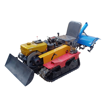 16hp crawler tractor rotary tiller micro tiller weeding, ditching fertilization multifunction greenhouse agricultural machinery walking tractor 15hp rotary tiller tractor single cylinder diesel engine agricultural small tractor