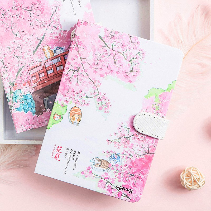 Cute Sakura Notebook Kawaii Colorful Pages Planner Book Bullet Journal Gift For Kids Girls Stationery School Office Supplies