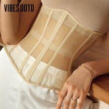 Модный сетчатый однобортный корсет visootd пояс без рукавов