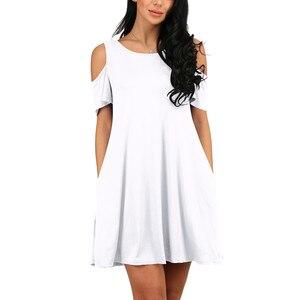 ONCE Women Summer Dress 2020 Solid Beach Dresses Female Off Shoulder Long Vestidos Beach Sexy Sundress Casual Dress